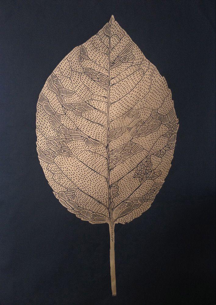 Handmade and signed linoleum print of a beautiful gold leaf: Done on quality 250 gram matt Card.