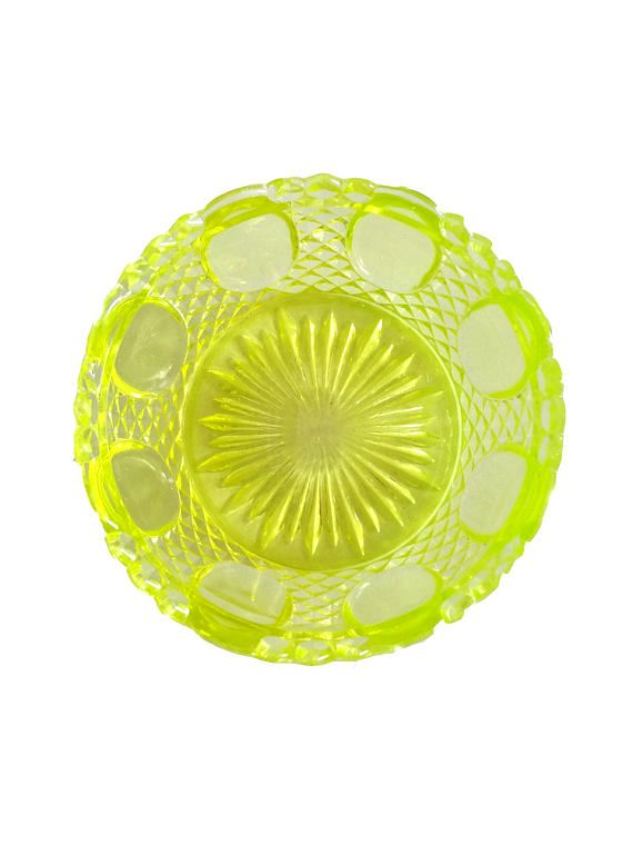 French Vintage Vaseline Glass Cup or Bowl  Lemon Yellow Green