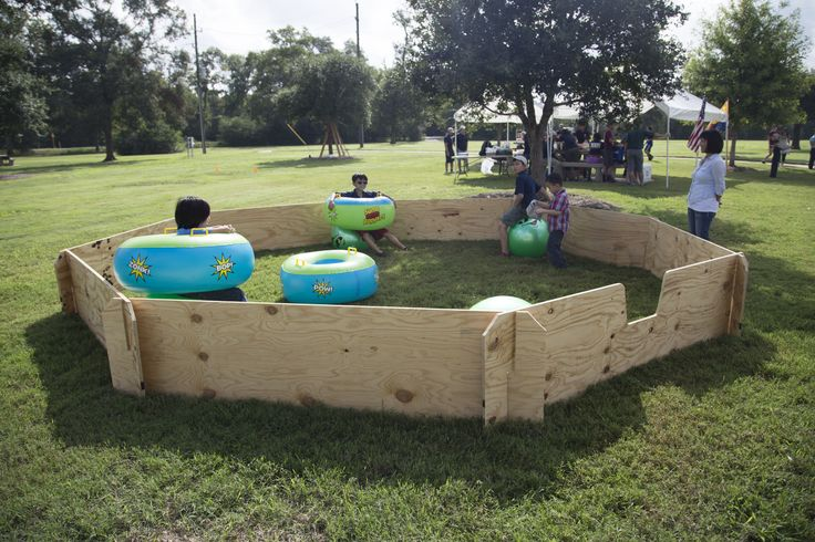 Portable Gaga Pit.  the panels of this pit are made w/ 3/4 inch plywood.  It assembles / disassembles in minutes.