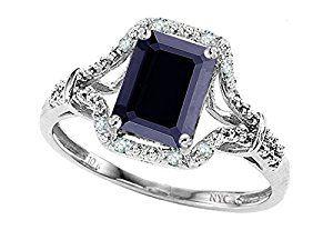 8x6mm Emerald Cut Genuine Black Sapphire and Diamond Ring 10k Size 8by Tommaso design Studio