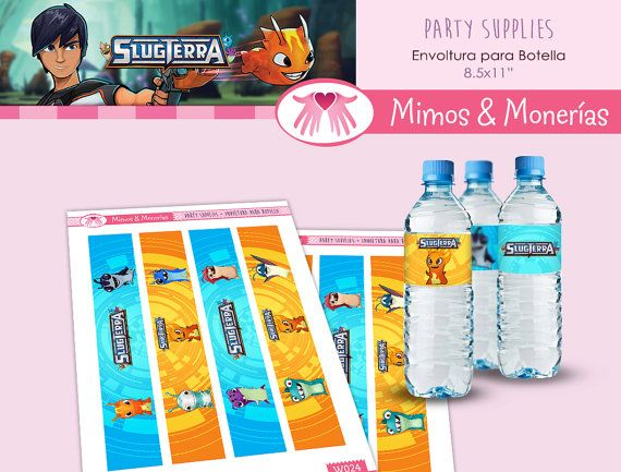Slugterra - Bajoterra Water Bottle Labels - Digital Collage Sheet - Birthday Party Digital - Labels - Wrapper - Printable - INSTANT DOWNLOAD