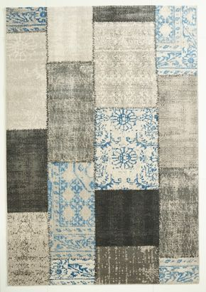 Vintage Teppich Grau-Blau gemustert 120x170 cm, Frisee Modern - klick-vinyl-boden.de