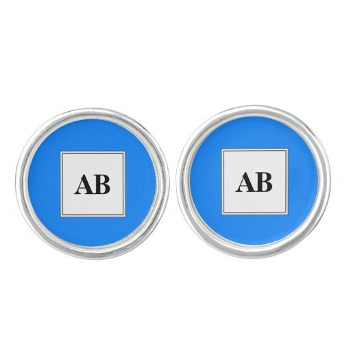 Azure blue solid color with monogram cufflinks