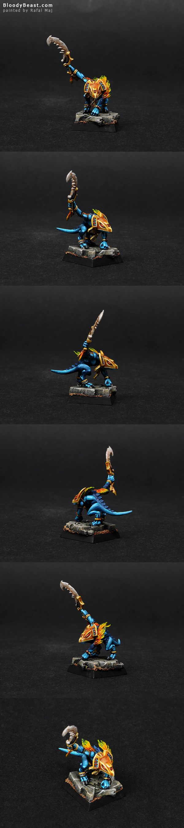 Lizardmen Skink Priest painted by Rafal Maj (BloodyBeast.com)