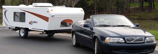 Trailmanor Trailmini Folding Travel Trailer Being Towed