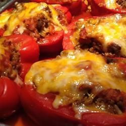 Stuffed capsicums with mince (chilli powder and taco seasoning)