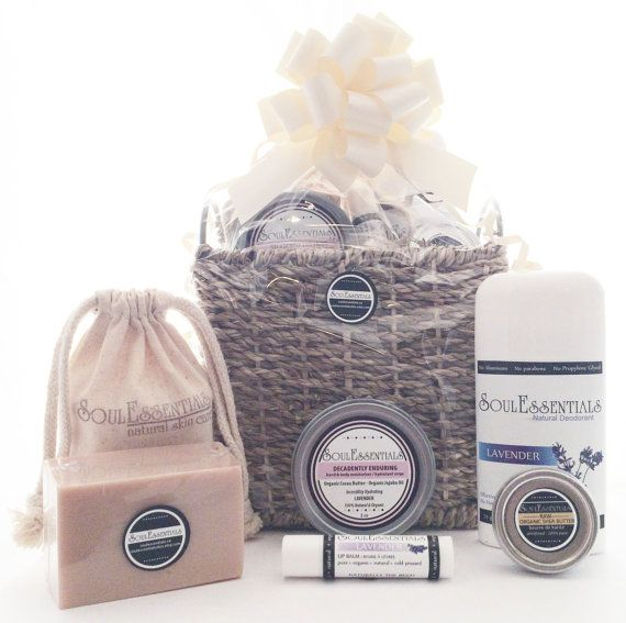 Organic Spa Gift Basket in Lavender  by SoulEssentialsSkin on Etsy