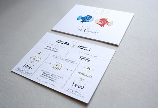 Simple wedding invitation design. Illustration, fish, couple, love, wedding bands, bubbles, typography, church, champagne