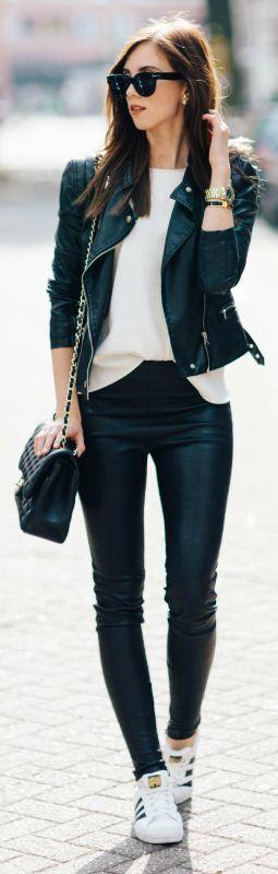 Barbora Ondrackova + sleek and elegant + primarily leather-based outfit + leggings + white tee + classic biker jacket + rose gold zip detailing + pair of Adidas Stan Smiths + Barbora's cute spring style!  Top: Zara, Leggings: Balenciaga, Jacket: Topshop, Sneakers: Adidas.