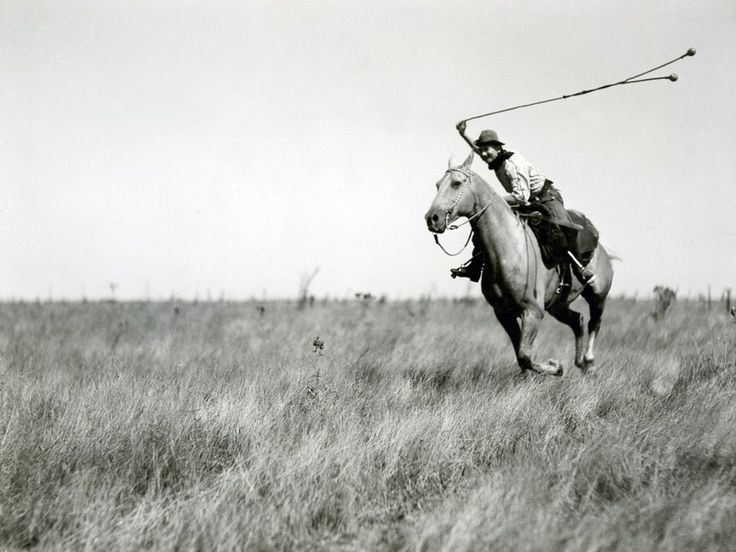 "Gaucho argentino usando boleadoras.  (foto publicada en ""National Geographic).  -lbk-"