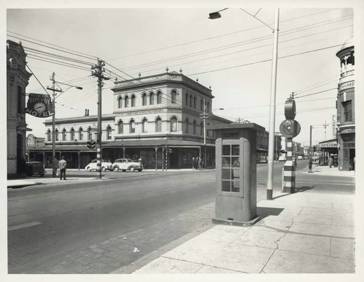 Corner of Brunswick and Gertrude Streets, Fitzroy,in Victoria in the 1940s.Rob Roy Hotel on the left,Champion Hotel on the right. State Library of Victoria.
