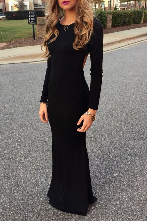 Hollow Back Long Sleeve Black Dress Httpzafulhollow Back