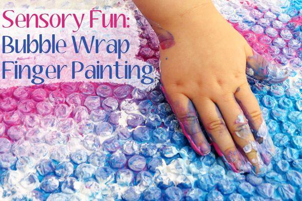 Sensory activities: Bubble Wrap Finger Painting