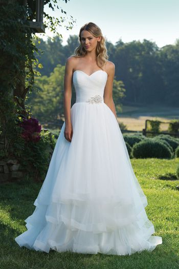 Sincerity Bridal - Style 3890: Ruched Tulle Ball Gown with Sweetheart Neckline