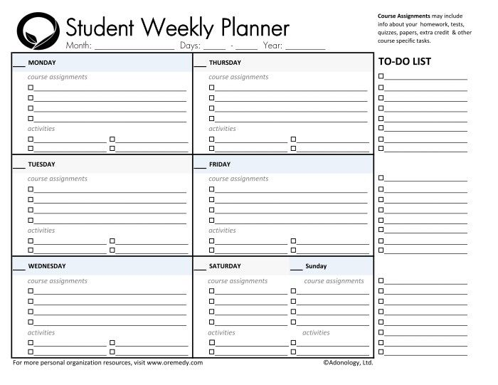school planner for students