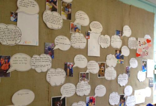 """ABCdoes shows us a working wall which continually changes in response to children's interests & experiences... """"The photographs show children engaged in activities, the speech bubbles record how the children were able to articulate their learning or interest, the cloud is a practitioner's judgement... a post will be added to the bottom of the cloud to show next steps."""" ("""",)"""