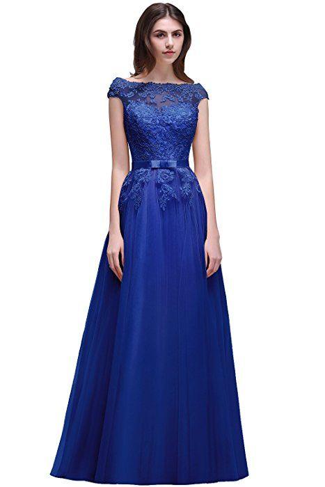 45c92e05e0a7 Amazon.com: Babyonlinedress Women Sheer Lace Illusion Back Evening Gowns  Long Ball Gala Dress (Royal Blue,8): Clothing