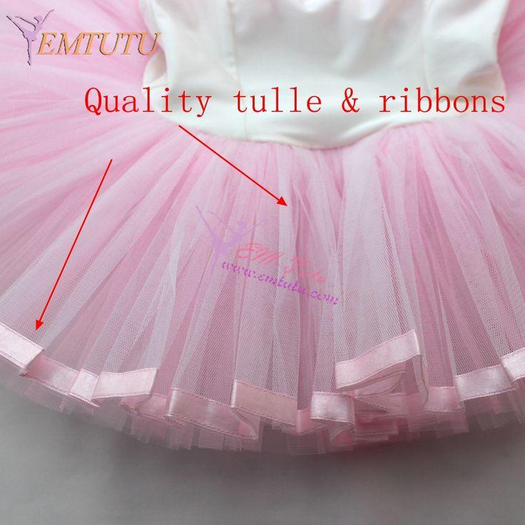 Child Ballet Dance Clothes Shiny Lycra Girls Pink Little Ballet Tutu With Leotard Ballerina Dance Tutu Ribbon Edged Tulle