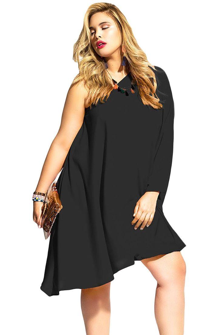 Robe Oversize Noir Une Epaule Asymetrique Pas Cher www.modebuy.com @Modebuy #Modebuy #Noir
