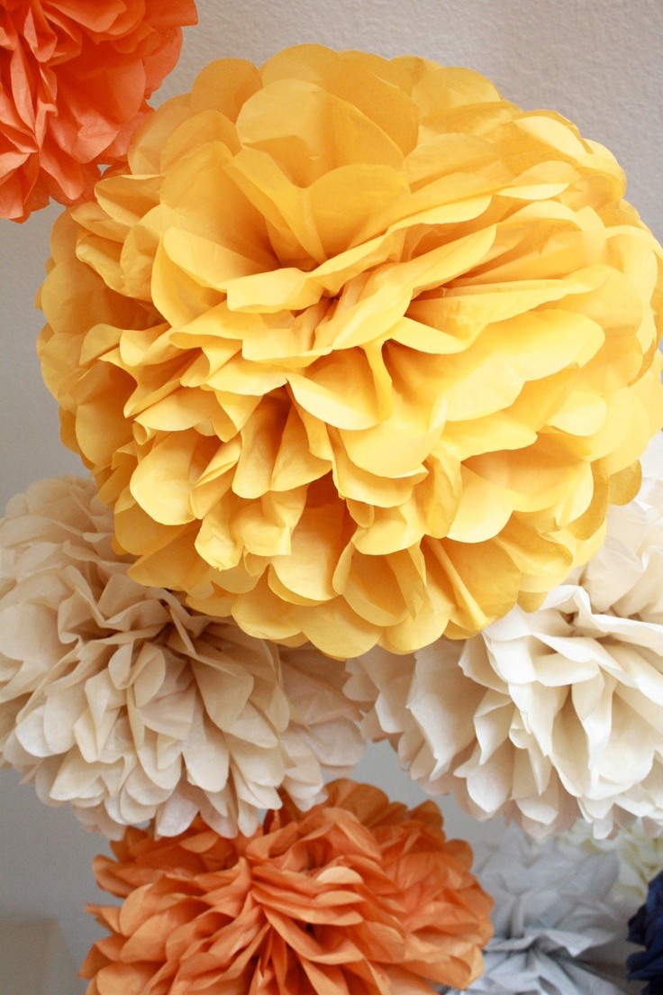 Tissue paper pompoms....can be a DIY for above the tables and any other place that needs some love