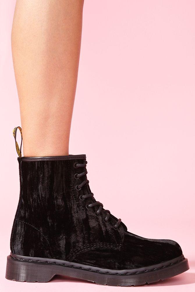 black velvet dr martens  http://www.nastygal.com/shoes-boots/castel-8-eye-boot-black-velvet
