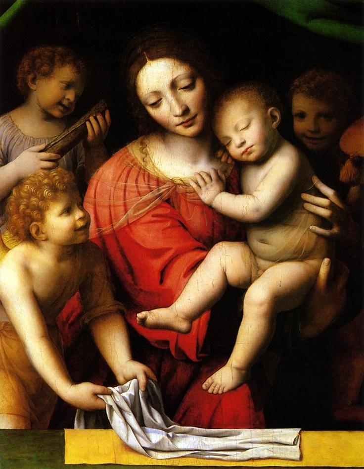 Bernardino Luini  Italian Painter (High Renaissance)  ca.1480-1532      Madonna and Sleeping Child with Three Angels, 1532 [Oil on canvas]     (Musée du Louvre, Paris, France)