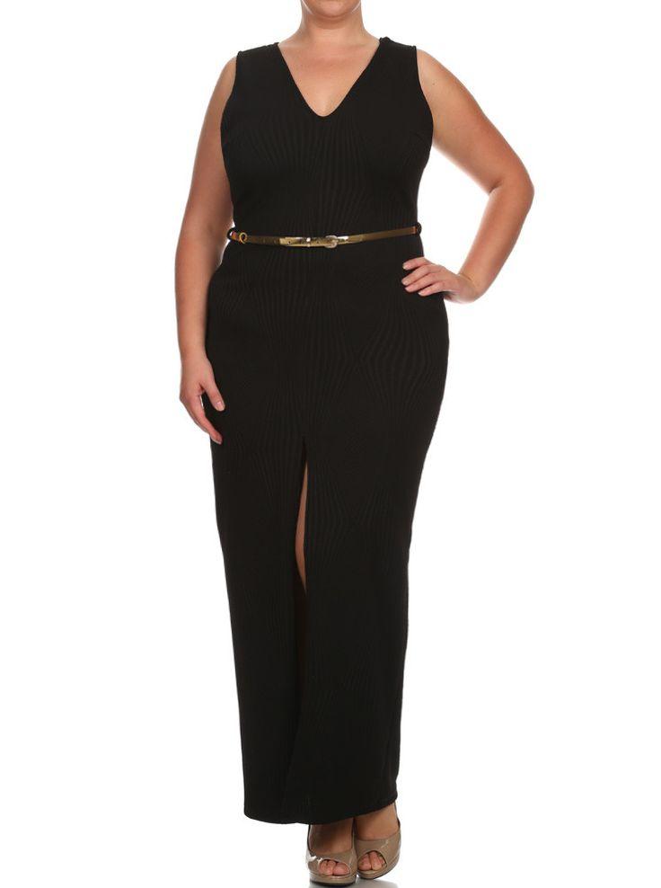 Plus Size Belted Diamond Black Maxi Mesh Dress  Dress - http://www.planetgoldilocks.com/fashions.htm  #fashions #plussizefashions