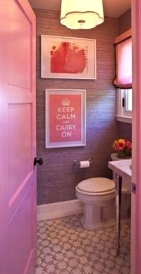 Teenage Girl Bathroom Design With Pink Walls And Artwork