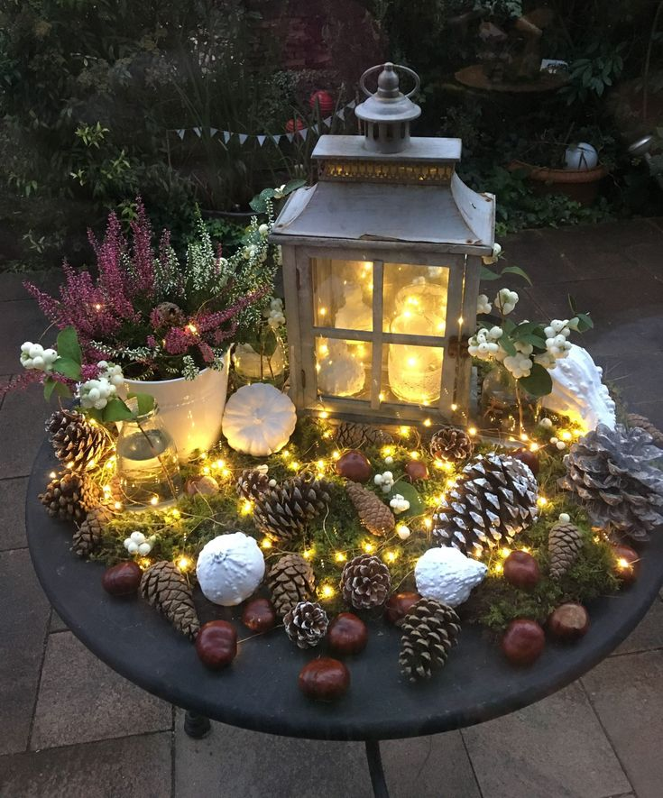 Leuchtender Herbst Tischdekoration Für Weihnachten