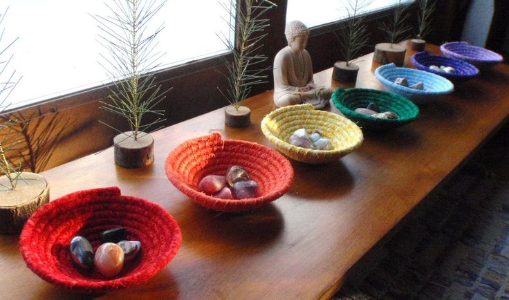 <3 Chakra Bowls, Coiled Baskets for Your Altar, #Yoga Studio or Reiki Practice. From YellowViolet on #Etsy.