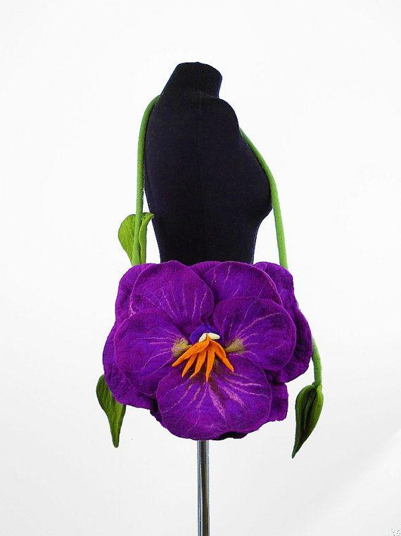 Felted Bag PANSY Handbag purple Purse Felt Nunofelt by filcant, $199.00