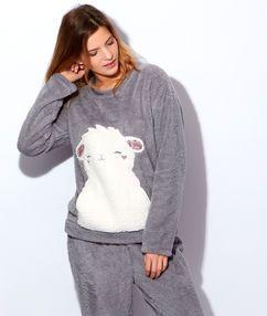 Pyjama 2 pièces toucher peluche gris.