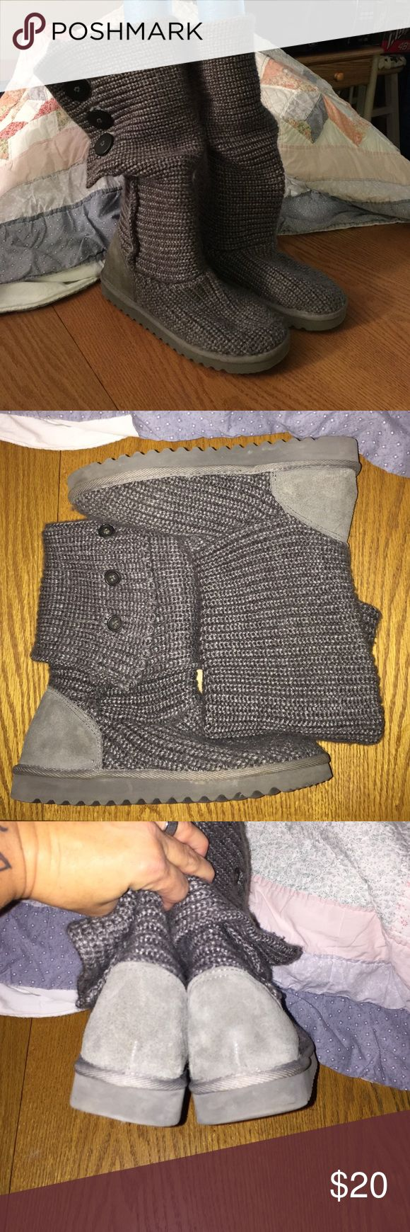 Kirkland Cardi Sweater Boots Sz W8 Kirkland Costco charcoal gray cardigan sweater boots, just in time for fall and ready for you to be cozy in🍂🍂only wore a few times so they're in amazing shape and super cute🎀 can be worn up, folded or a lil slouchy😍 women's size 8🍁 kirkland Shoes
