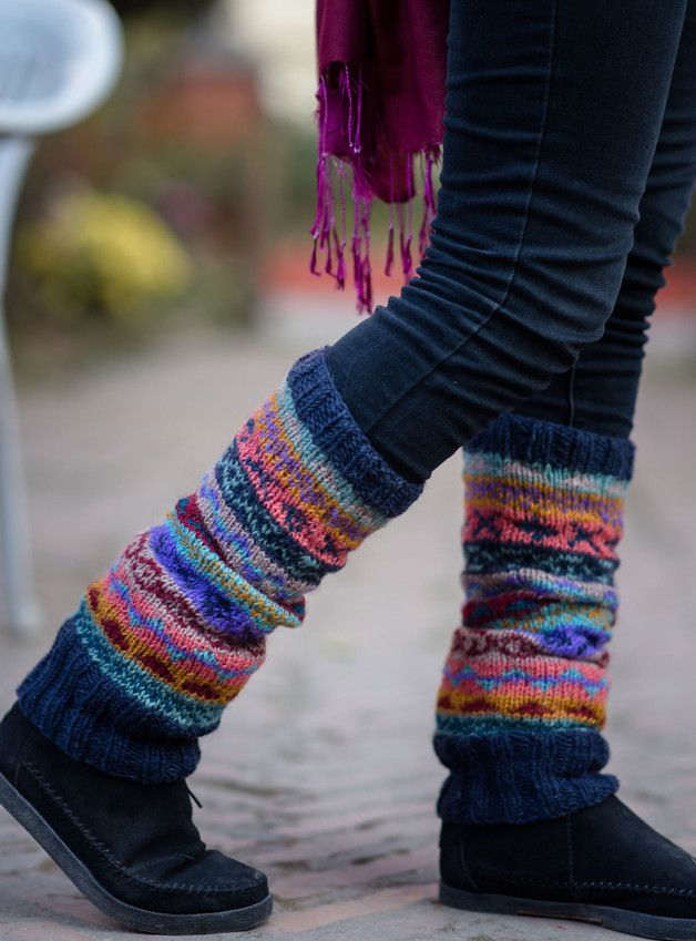 Knee Socks – Dark Blue Mixed Color Pure Wool Legwarmers – a unique product by nepacraftsproduct on DaWanda