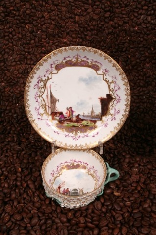 Snowball Blossom cup - Historical MEISSEN® Spitzner Collection, Dresden. Snowball Pattern, gilt cartouches with vintage Maritime Commerce scene from the early 18th century in the well. Saucer similarly decorated. age: 1740-1760
