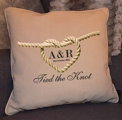 Beautiful bespoke Wedding Gift. Cushion with 'Tied the Knot' design, detailed with the Wedding date and initials of Bride and Groom! WowWee.ie - €39.99