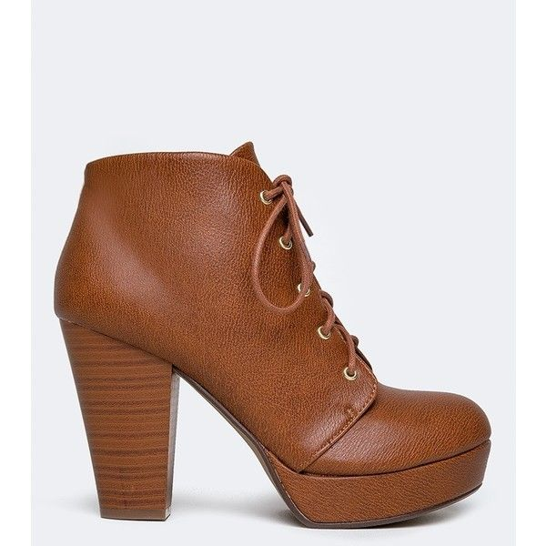 AGENDA BOOTIE (140 MYR) ❤ liked on Polyvore featuring shoes, boots, ankle booties, brown, lace-up wooden heel platform booties, brown booties, vegan booties, brown ankle boots and short brown boots