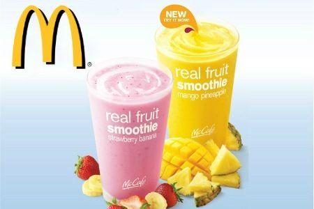Cupón de McDonald's Singapore City. Mango-Piña o Fresa-Banana Smoothie.