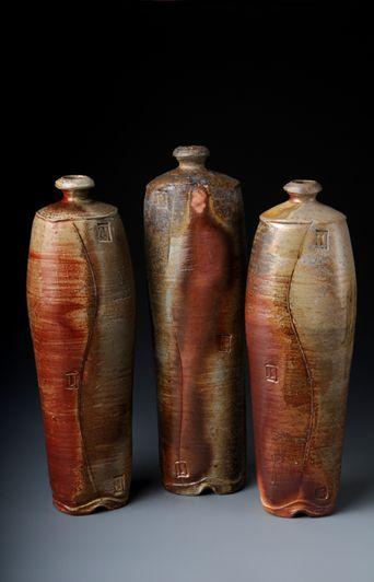 Woodfired BottlesKevin Crows, Ceramics Art, Woodfire Bottle, Three Arches, Ceramics Vases, Crows Three, Bottle Vases Oth, Clay Art, Pottery Ceramics