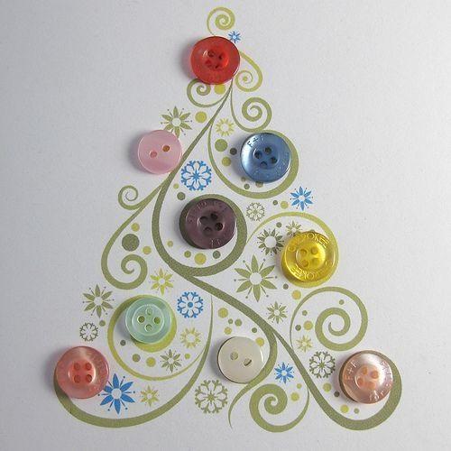 Button Christmas Trees: Button Christmas Tree Card. By Mesalia