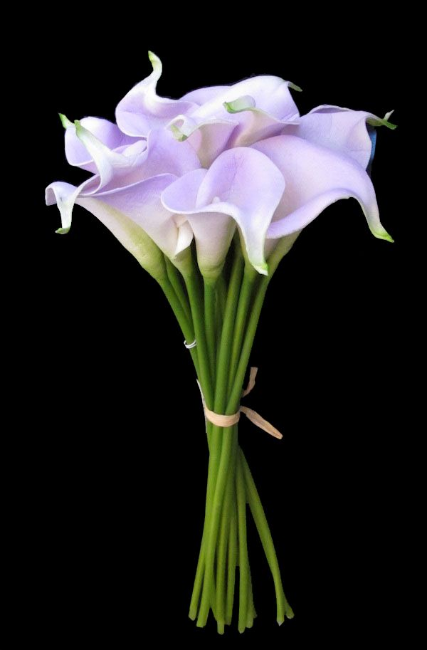 "14"" Small Real Touch Hand-Tied Calla Lily Wedding  Bouquet in Lavender with 12 Flowers"