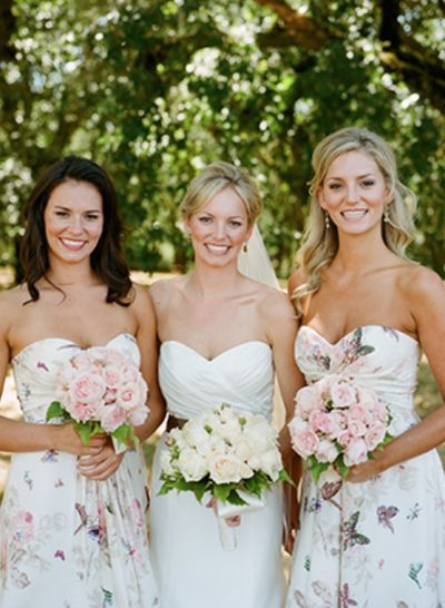 Butterfly Patterned Bridesmaids Dresses Via Snippet Wedding Unique Floral Pattern Bridesmaid Dresses