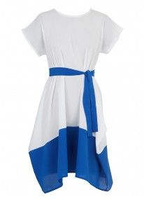 Colourblock Dress with Belt Blue/White