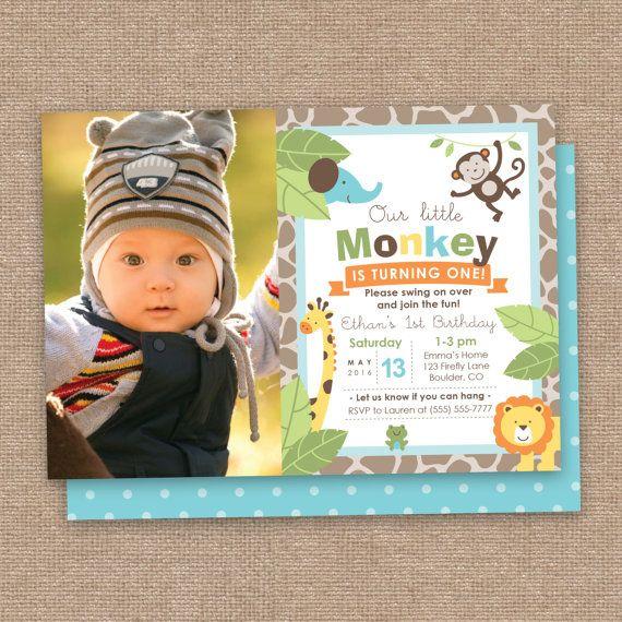 Eerste jongen verjaardag aap & Jungle dieren uitnodiging met