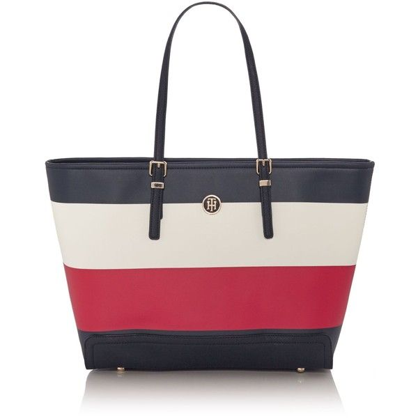 Tommy Hilfiger Novelty Honey East West Tote Bag (£155) ❤ liked on Polyvore featuring bags, handbags, tote bags, bags & luggage handbags, handbag purse, white tote bag, tote purses, white handbag and white purse
