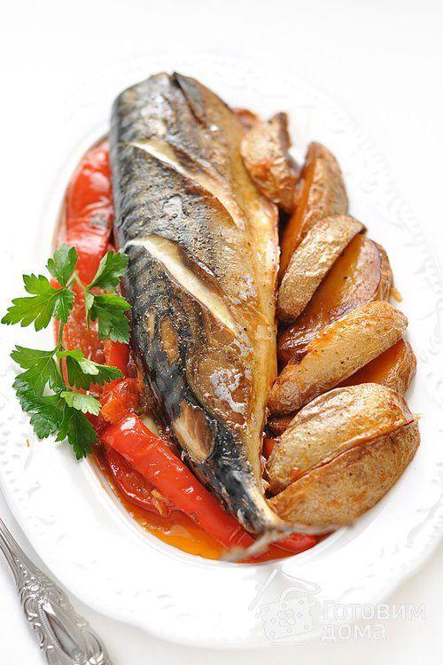 Рецепт Скумбрия, запеченная с картофелем и болгарским перцем