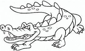 Dibujos para Colorear Infantil: Dibujo de Cocodrilo