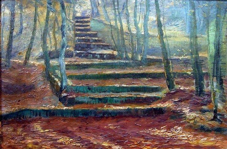 Frantisek Kavan ( 1866 – 1898 )  Stairs in the Park, ca 1890