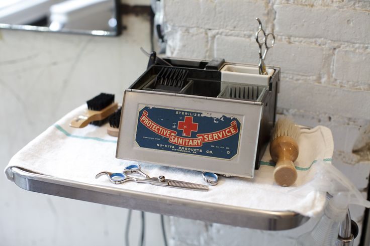 Workspace of Blind Barber in New York.