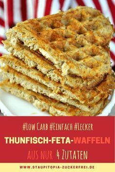 Ein Rezept für herzhafte Waffeln, dass du unbedingt ausprobieren solltest: Low Carb Waffeln mit Thunfisch und Feta! Diese herzhaften Low Carb Waffeln sind nicht nur einfach zuzubereiten, sondern glutenfrei, Low Carb und richtig lecker. Für die Zubereitung benötigst du nur 4 Zutaten: Thunfisch, Feta, Mandelmehl und ein Ei. Probier es am besten direkt aus!